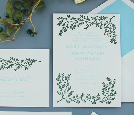 Letterpress wedding suite designed for Modern Luxury Brides Atlanta.