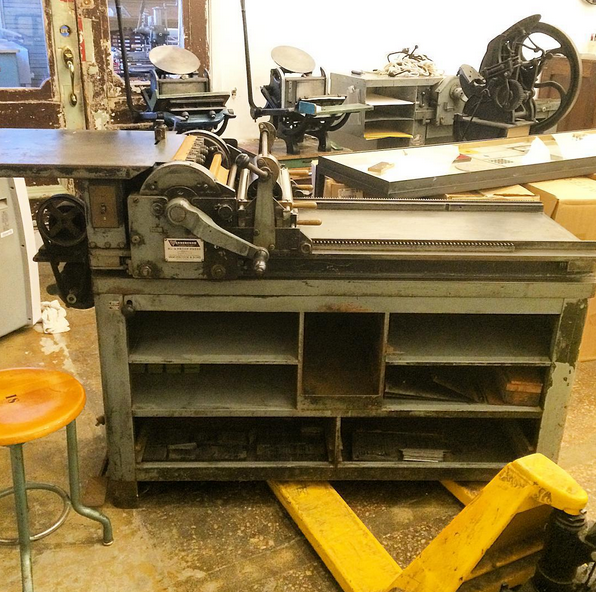 The Vandercook #4 before Dan fixed it up!  (Pic from @the_arm on Instagram)
