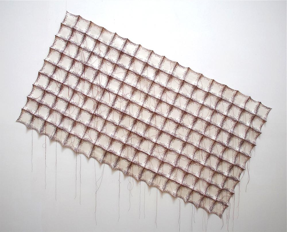 "'cupulus'  2007  38"" x 74"" x 1.5"" industrial felt, silkscreen printing, hand stitching"