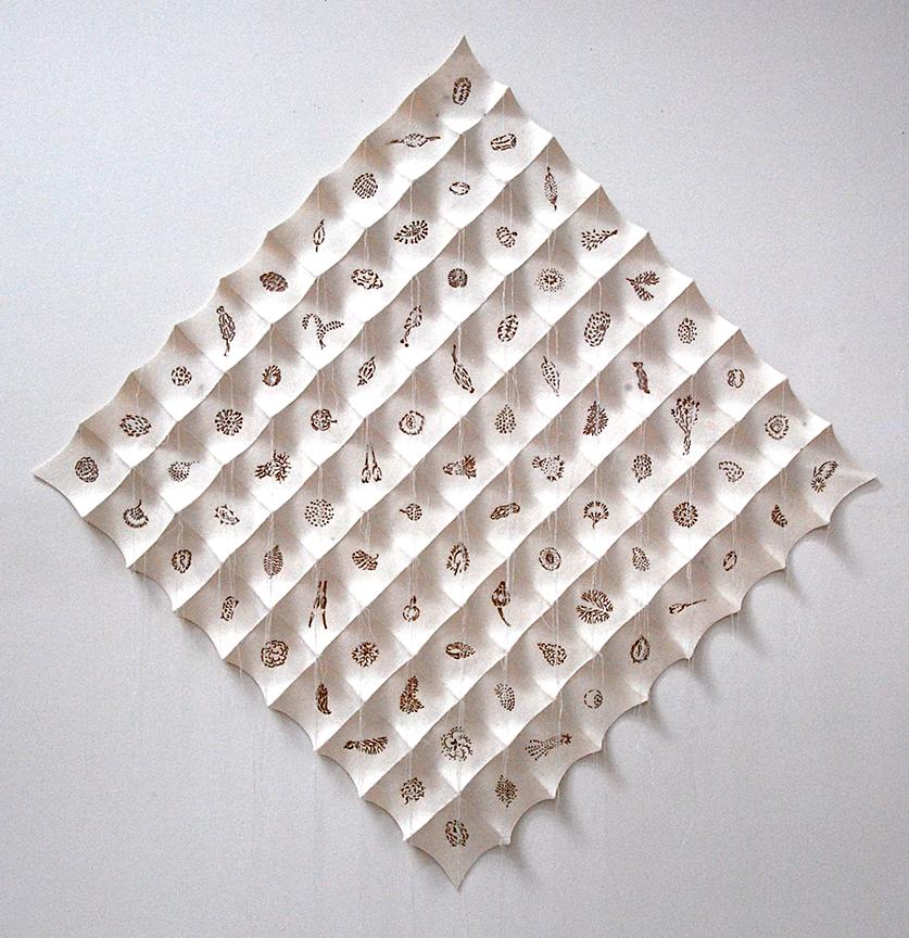 """'boohwa'  2012  30.5"""" x 30.5"""" x 1.5"""" industrial felt, laser cutting, hand stitching"""