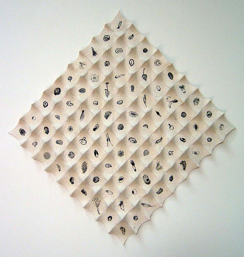 "'incubation'  2007  29"" x 29"" x 1.5"" industrial felt, silkscreen printing, hand stitching"