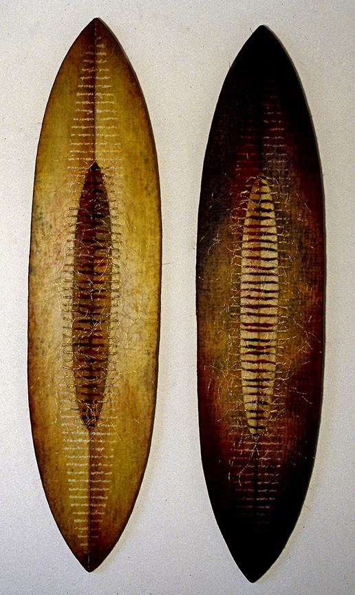 """'duo 2' & nbsp;  1999 Feutre industriel 25 """"x 7"""", brindilles, colorant réactif aux fibres, fil de broderie, impression de décharge, machine et amp;  coutures à la main"""