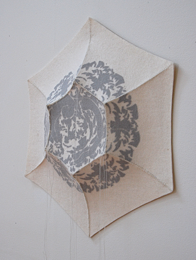"'haema 2'  2012  12.5"" x 11"" x 1.5"" industrial felt, silkscreen printing, hand stitching"