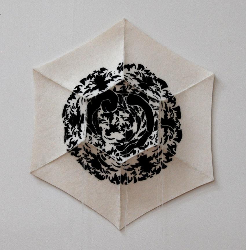 "'haema 1'  2012  12.5"" x 11"" x 1,5"" industrial felt, silkscreen printing, hand stitching"