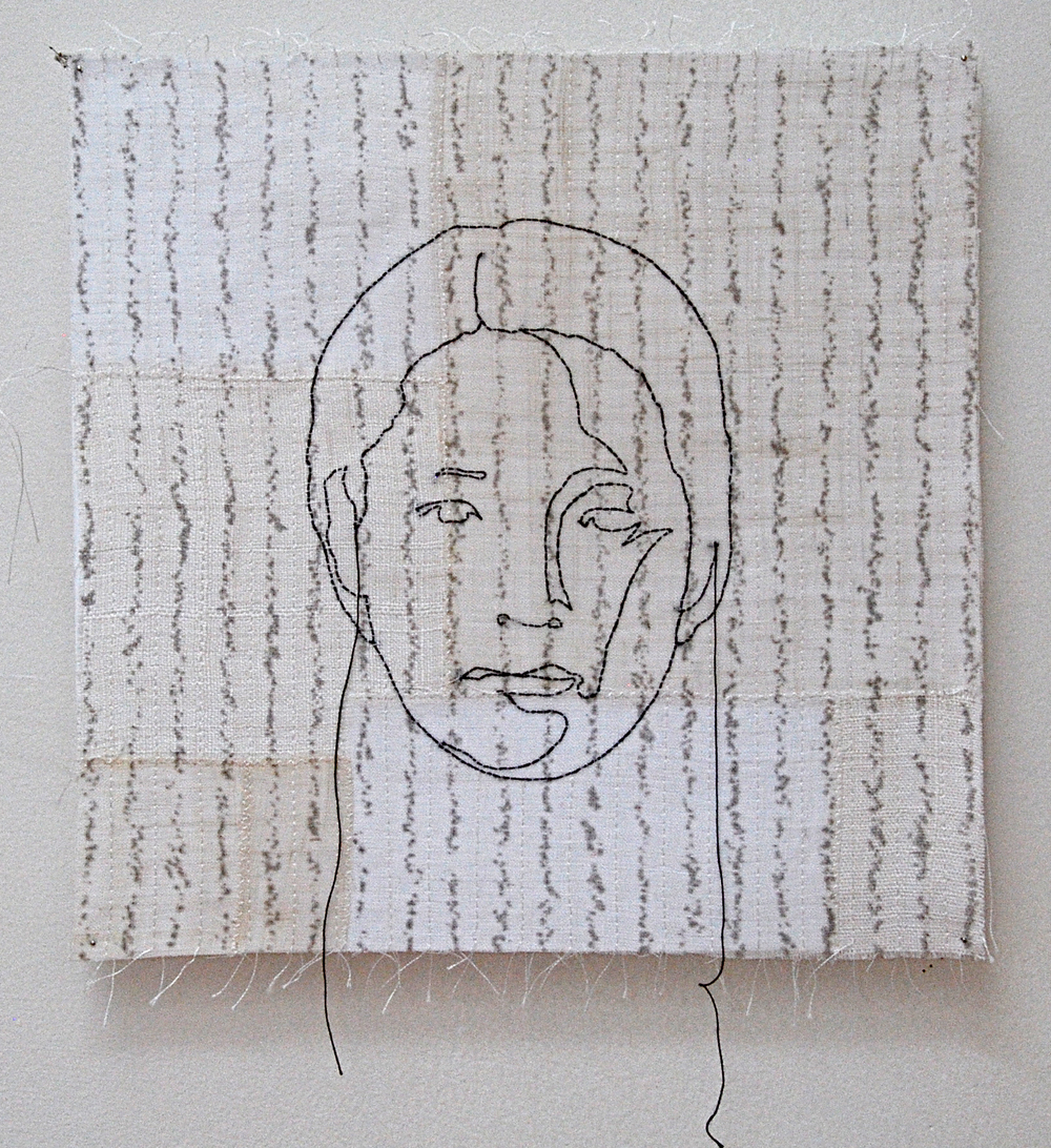 """'na'  2005  10"""" x 10"""" ramie, hemp, silkscreen printing, machine & hand stitching"""