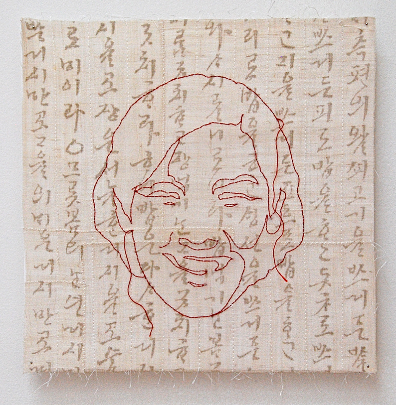 """'umma 3'  2005  10"""" x 10"""" ramie, silkscreen printing, machine & hand stitching"""