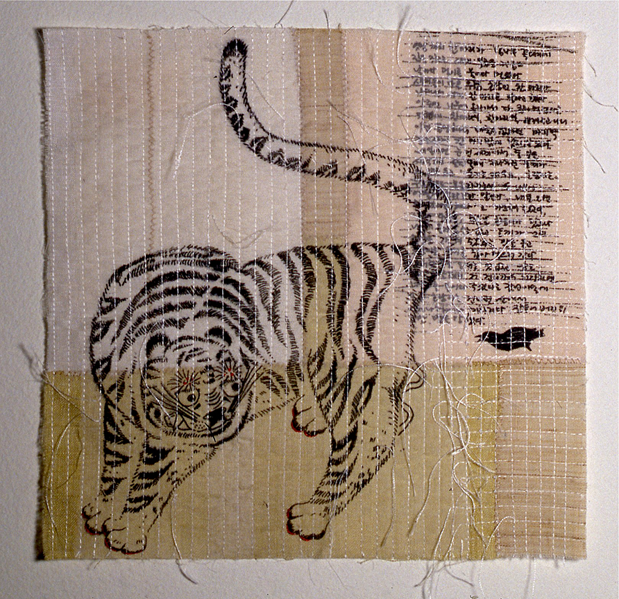 "'magpie & tiger 2'   2004  10"" x 10"" ramie, hemp, silk organza, natural dyes, silkscreen printing, machine & hand stitching"