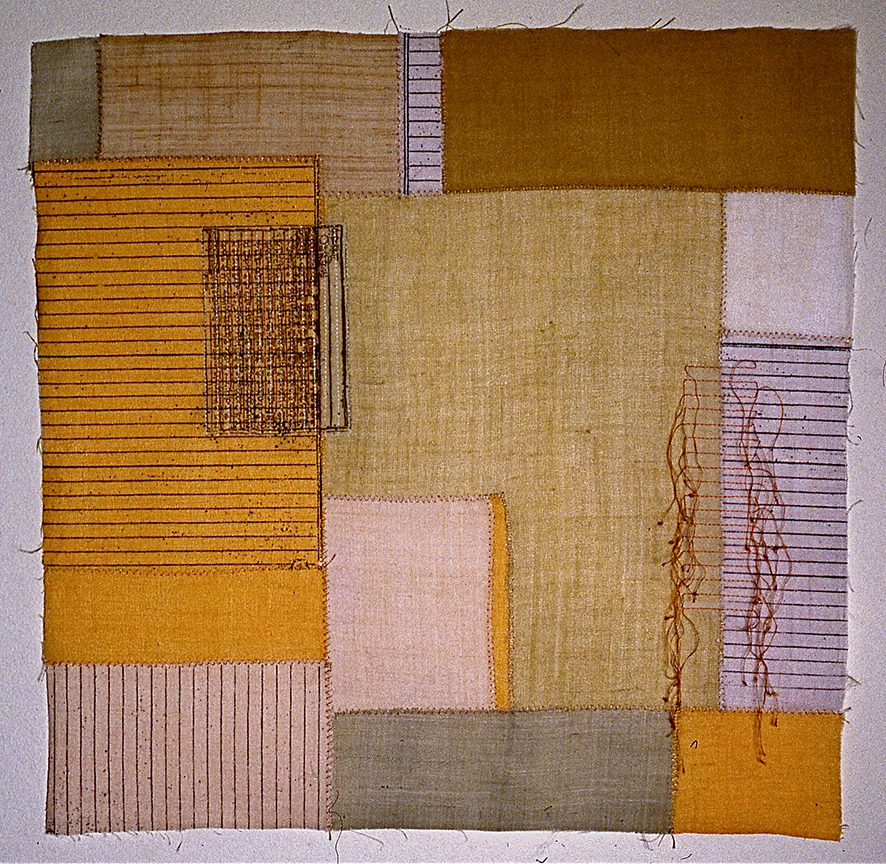"'bojagi square 1'   2004  17"" x 17"" ramie, hemp, silk organza, natural dyes, silkscreen printing, machine & hand stitching"
