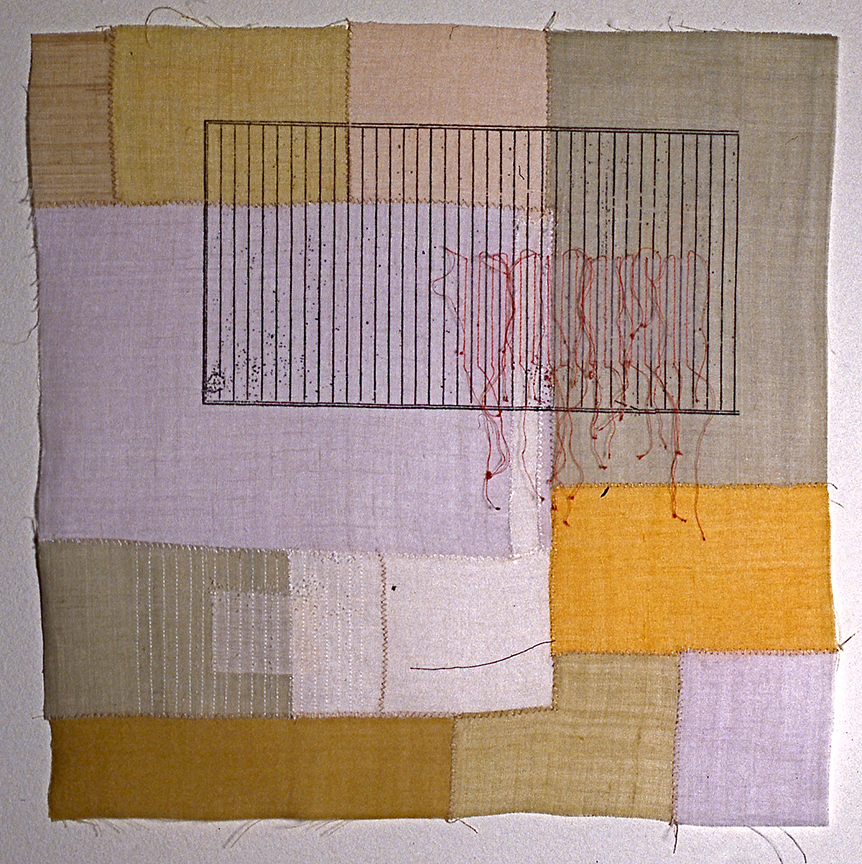 "'bojagi square 2'   2004  17"" x 17"" ramie, hemp, silk organza, natural dyes, silkscreen printing, machine & hand stitching"