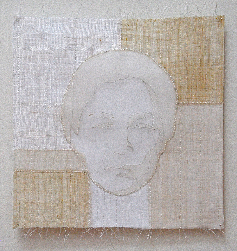 "'umma 2'   2005  10"" x 10"" ramie, hemp, silk organza, machine & hand stitching"