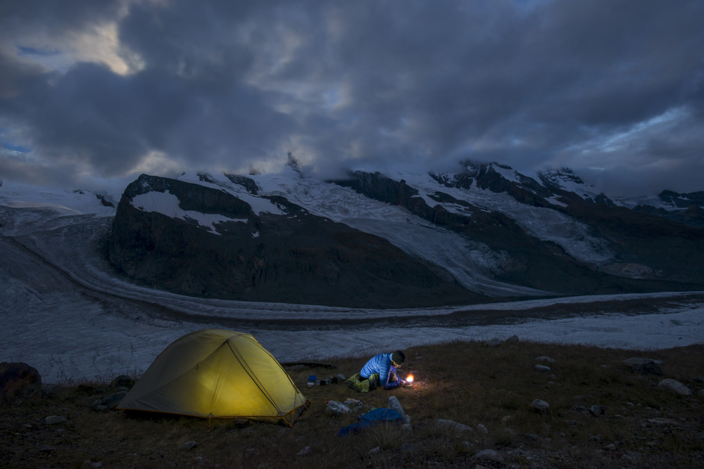 Camped beside the Gorner Glacier at the foot of Monte Rosa