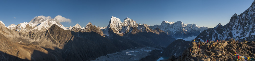 This was the view from the summit of Gokyo Ri at 5350m. Everest (8890m) is the black triangular peak to the far left. Then moving to the right is Nuptse, Lhotse (the fourth highest in the world) and Makalu (the fifth). Further to the right and in the centre of the image are the peaks of Cholotse and Taboche. In the far distance is Kantega and Thermserku.