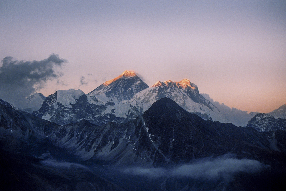 My reward; sunset on Everest. Taken before I owned a digital camera with a Nikon FE2 and fixed 50mm lens.