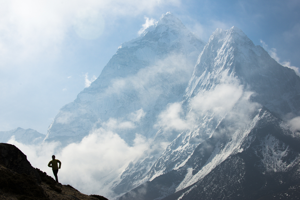 Lizzy Hawker with Ama Dablam in the distance