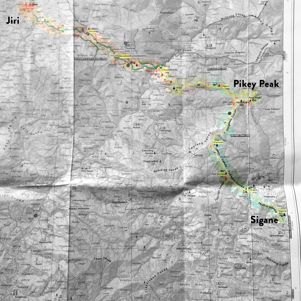 Map - Sigane to Jiri 4-day trek via Pikey Peak