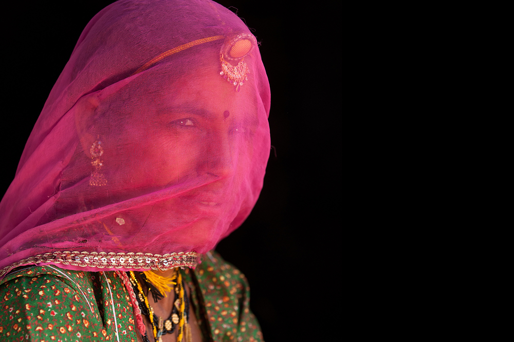 Woman wearing a Ghoongat  Rajasthan, India