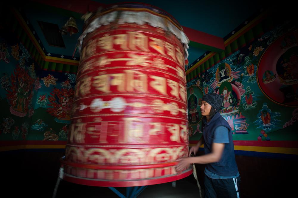 Prayer wheel  Khumbu, Nepal