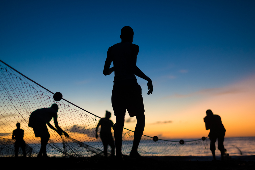 Tobago Seine net fishermen haul in a catch in Castara Bay on the Caribbean island of Tobago