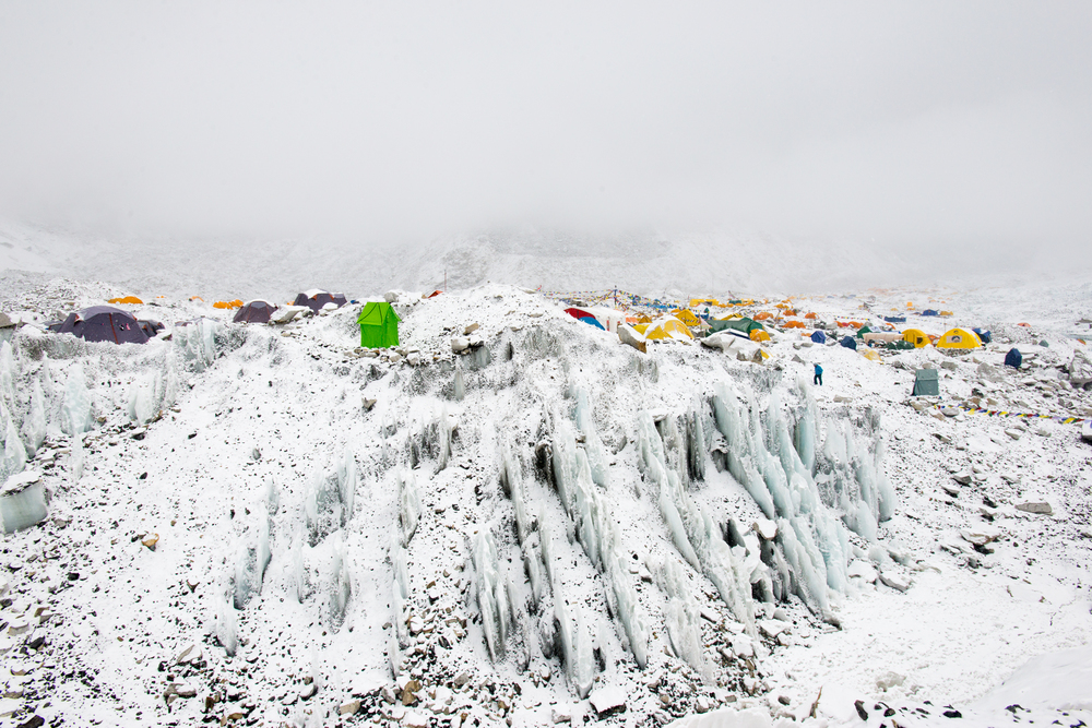 Nepal Everest base camp on the Khumbu glacier in Nepal after a fall of snow