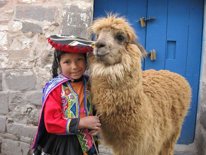 Peruvian Girl and Her Llama