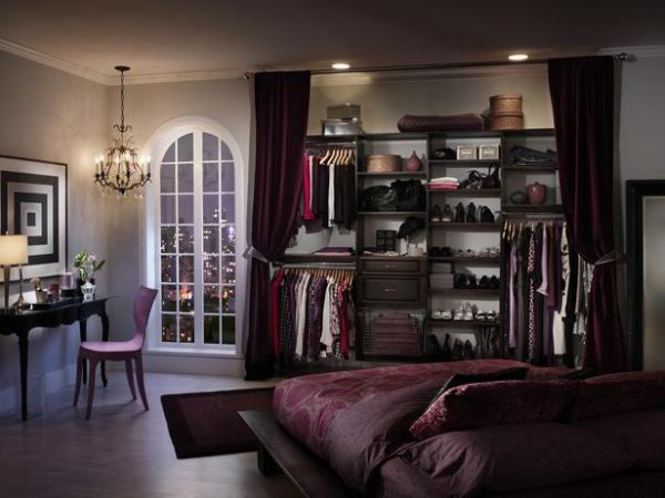 Here's an example of curtains covering an open-concept closet. Not my favorite look, alas...