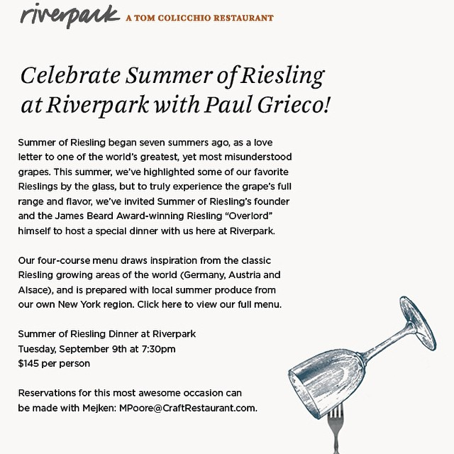 One of the last events of the last Summer of Riesling as we known it!  Going to be an incredible evening of supremely tasty revelry... Come join us!
