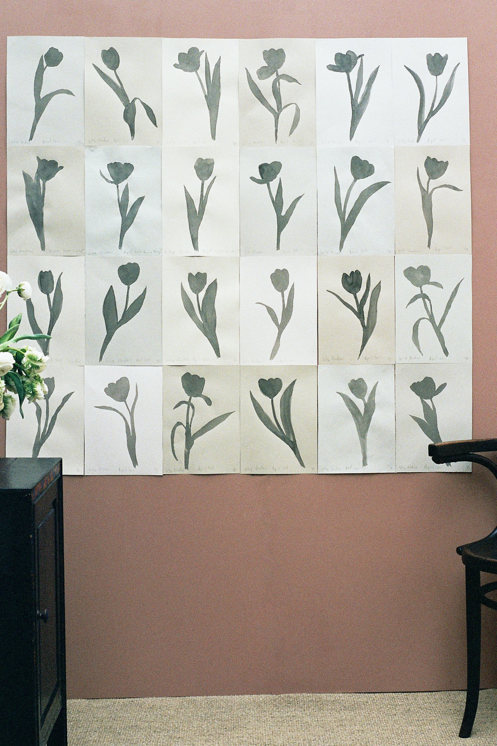 24 Shadow Tulips  2017  Sumi Ink on Paper  As a Panel: 116cm x 126cm Individual 21cm x 29cm