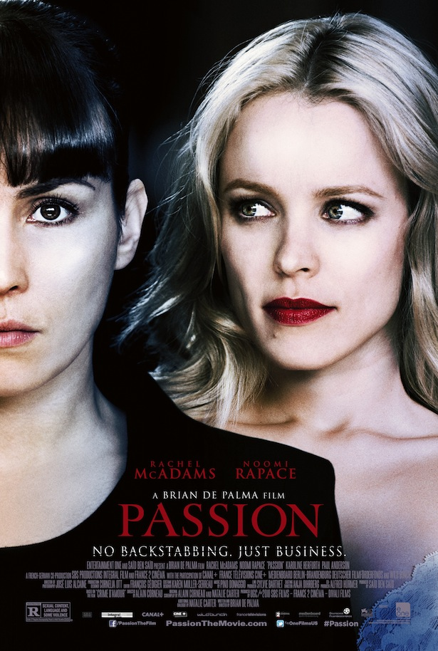 "film-dot-com :       EXCLUSIVE: FIRST POSTER FOR BRIAN DE PALMA'S ""PASSION""     It's been more than five years since Brian De Palma's last film (""Redacted""), but later this summer the master of the double-take returns with some vintage work, delivering a sexy and twisting psycho-thriller as only he can.  Harkening back to the lusty Hitchcockian intrigue that informed early De Palma classics like ""Sisters"" and ""Body Double,"" his latest film, ""Passion"" – a title as blunt as it is deliciously enticing – is a seductively cutthroat tale about the perils of climbing up the corporate ladder (though, like all of De Palma's best movies, it will inevitably be just as interested in its own internal logic).   Starring Noomi Rapace in her most complex English-language part to date, and Rachel McAdams in a role that promises to make Regina George seem like a kitty cat in comparison,  ""Passion"" will premiere on VOD on August 1st, followed by a theatrical release on August 30th.      Read more about  Passion  on FILM.COM       oof. that is some shitty photoshop."