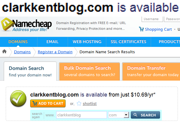 "TOO LATE, SUPER""BLOG"".   MAYBE NEXT TIME YOU QUIT YOUR JOB, CLARK KENT, YOU'LL LEARN A LITTLE THING CALLED "" URL  DOMAIN PARKING.""     edit: this is what i get for mocking a jobless superman."
