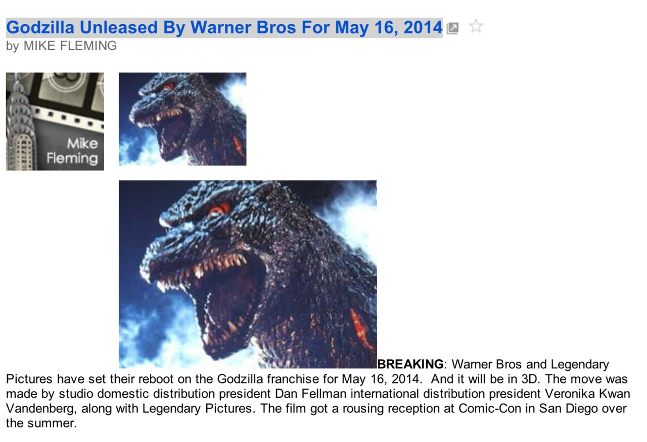 Warner Brothers has finally set a date on taking Godzilla's lease.
