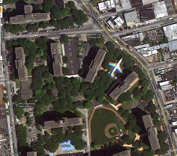 nbd, just an airplane that may be parked between housing complexes in bushwick.   or a google map impeccable moment.