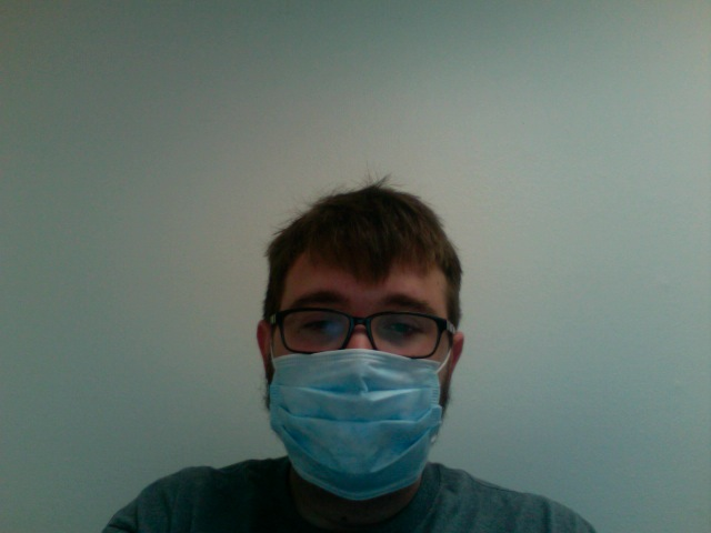 Because I may or may not have infected the office, I have to wear this.