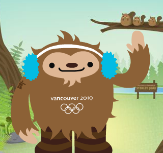 that's adorable.   for me to exploit.    charlene :   Meet  Quatchi , a young sasquatch and one of the mascots of the Vancouver 2010 Winter Olympics.