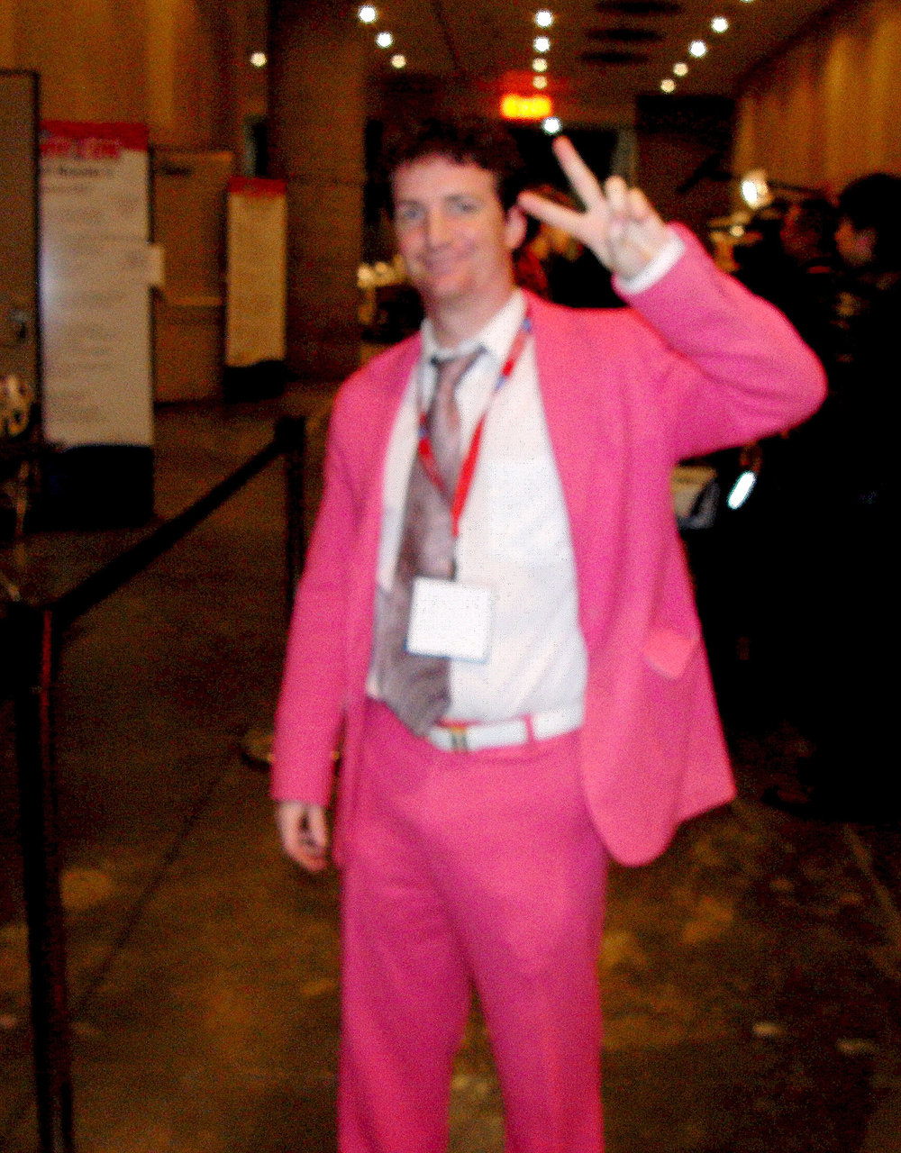 Sadly dark, but Grady Hendrix's awesome pink suit shines on.