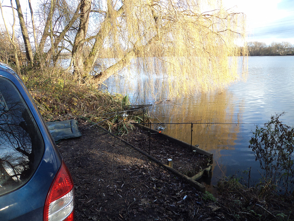 Talk about fishing out of your car! And with a resident pike too