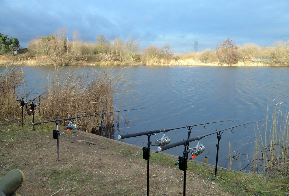 The rods are fanned out as are our baits, covering lots of water