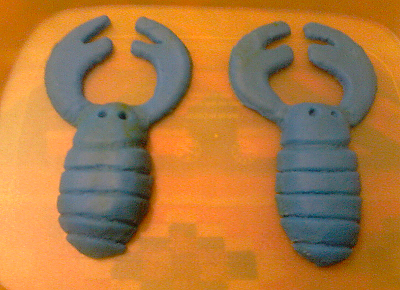 Create your 'grubs' out of plasticine...