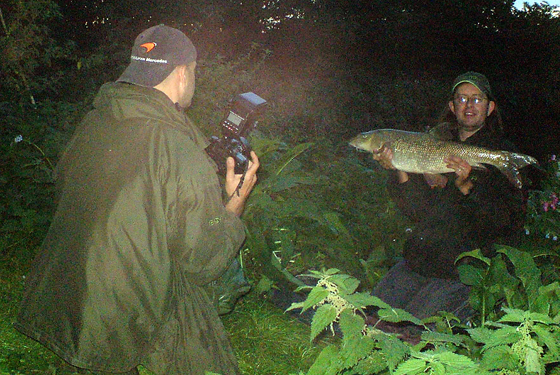 Me taking a pic of Simon, who's getting a pic of Martin with a 12lb+ Lea barbel