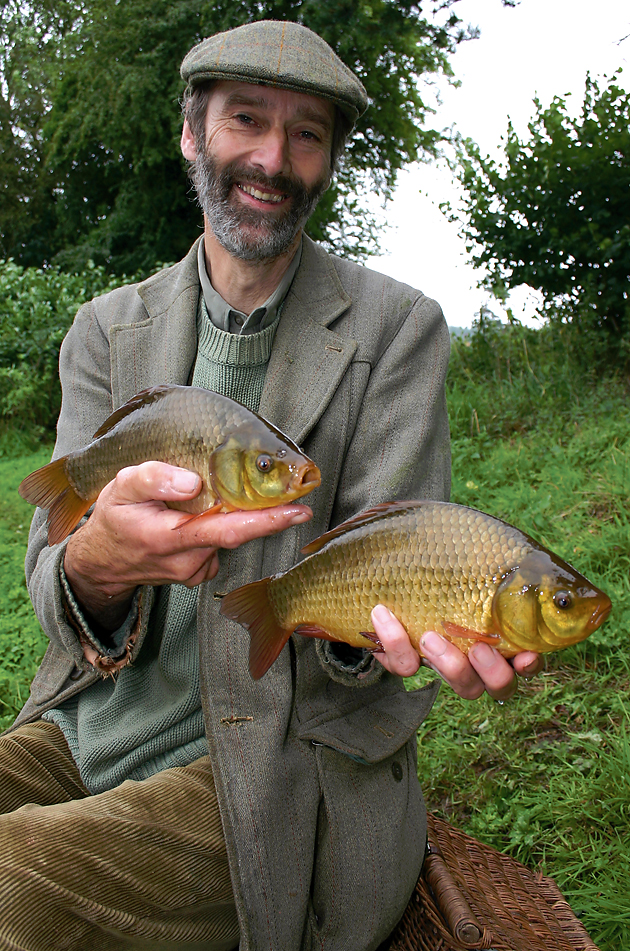 Cyprinus carassius held by Chris Yates