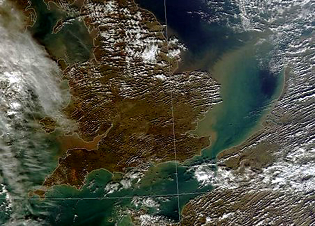 An aerial map of Britain taken on February 16 showing the huge plumes of silt pouring into the Bristol Channel and Irish Sea. Much of this is a result of poor agricultural practices upstream but it graphically demonstrates the self-scouring power of the Severn and Wye catchments