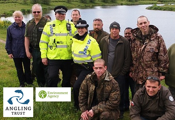 Thames Valley Police Officers, Environment Agency staff and West Thames Volunteer Bailiffs on a joint patrol supporting Operation CLAMP DOWN 2 in 2014.