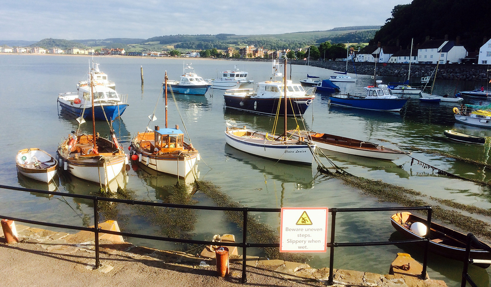 The sun starts to set on the picturesque harbour at Minehead, we'll be setting off next morning