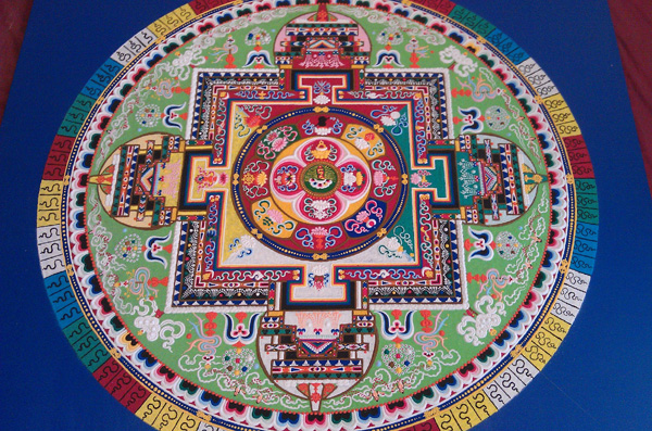 Traditional Tibetan Sand Mandala - Green Tara (Dol jang) -  Female Buddha that grants protection and relief from sufferings, generates compassion, love, and peace.