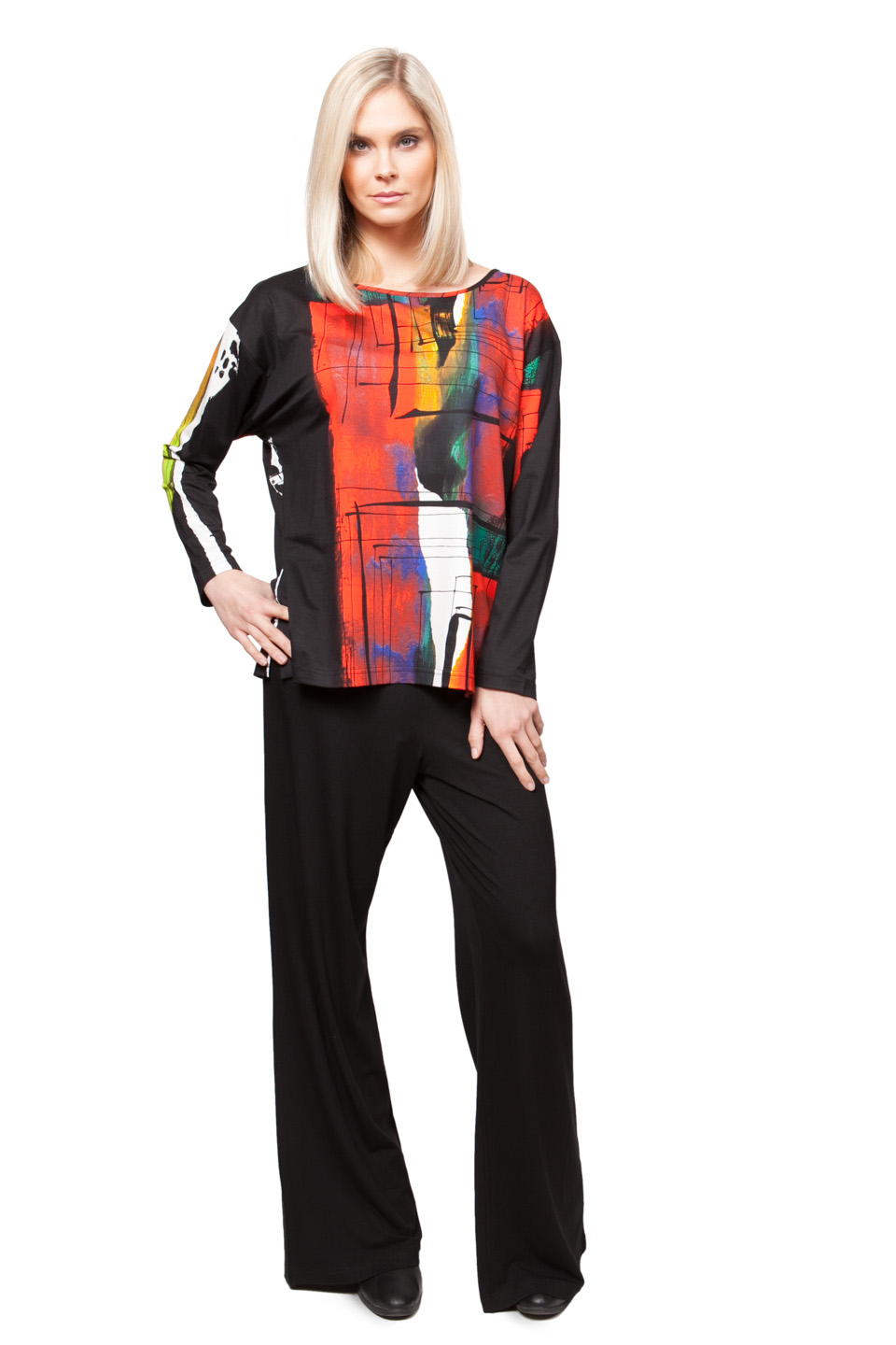 Copy of Style # 44173-16, p. 3<br>Viscose Prints Print: Waterfall Only<br>Solid Pant # 33076-16, p. 7