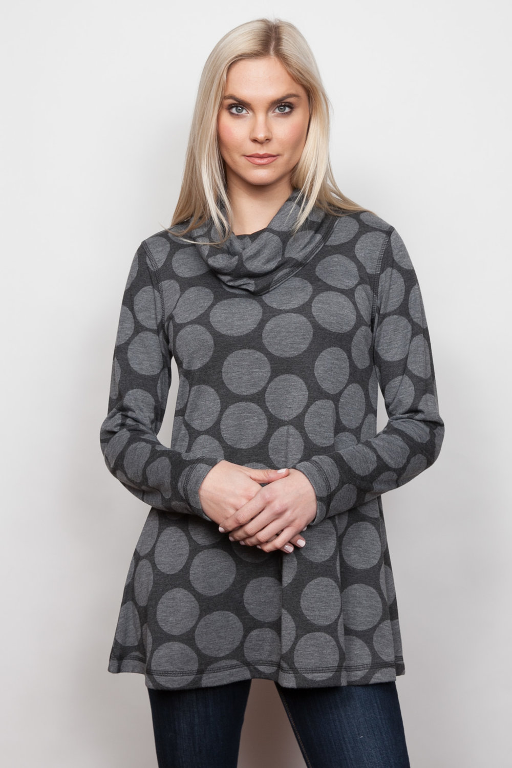 Copy of Style # 85437-18, p 5 </br>Double Faced Large Dot </br>Color: Grey Heather