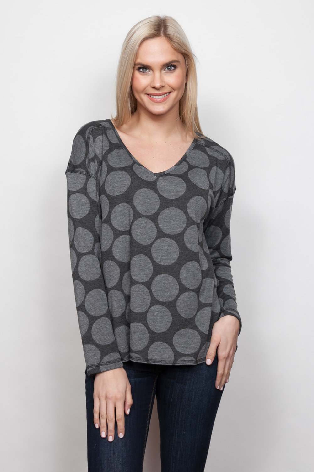 Copy of Style # 85438-18, p 5 </br>Double Faced Large Dot </br>Color: Grey Heather
