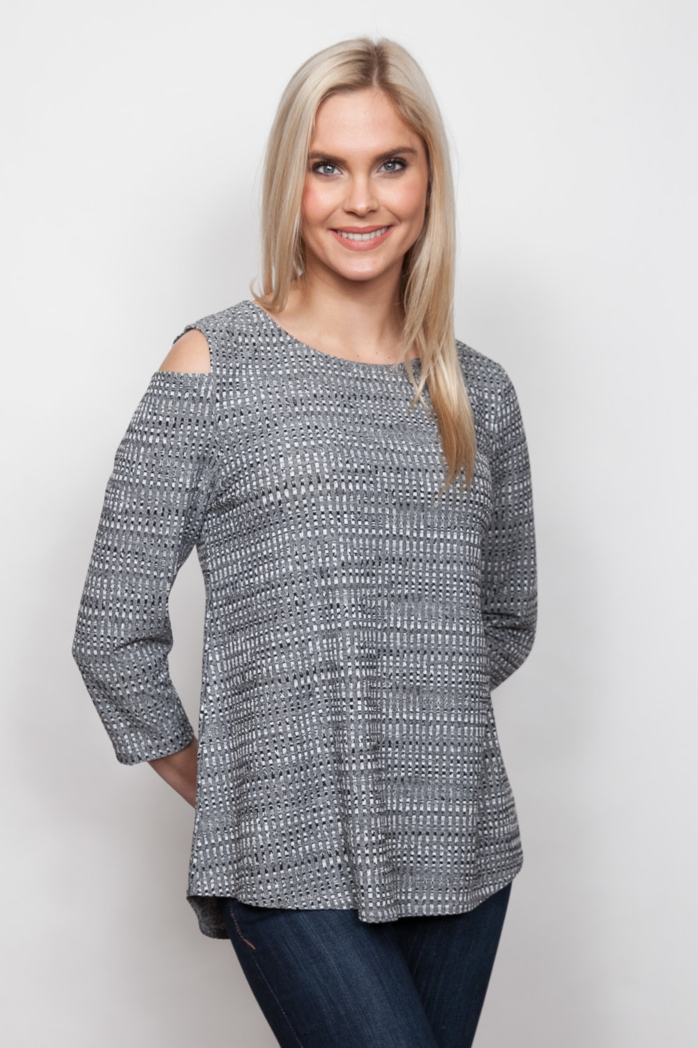 Copy of Style # 92439-18, p 5 </br>Tweedy Mini Check Jacq'd </br>Color: Charcoal