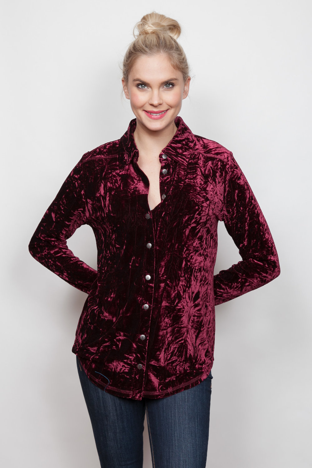 Copy of Style # 15379-18, p 12 </br>Crinkled Crushed Velvet </br>Color: Merlot + Black, Sapphire