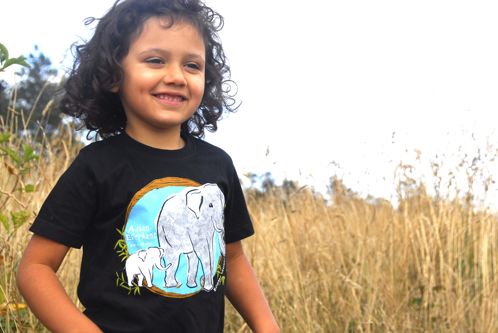 SpeeZees  Asian Elephant kids tee in Spider Black.  Also available in Papaya.