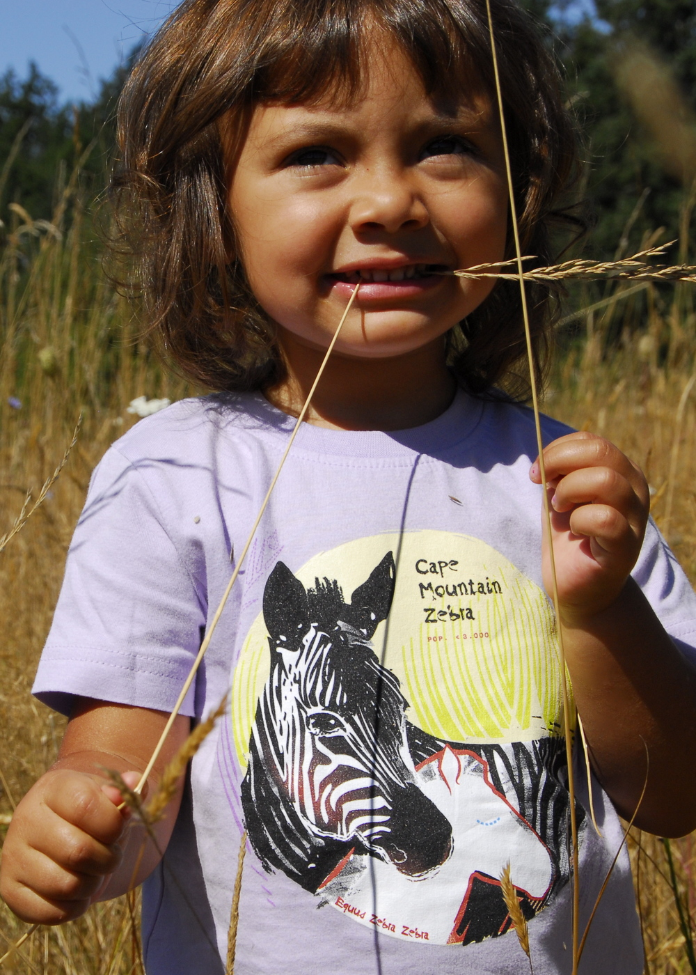 SpeeZees Cape Mountain Zebra kids tees in  Lavender .  T-shirts made from  100% GOTS certified organic cotton  and printed with eco-sensitive inks.   $1 for One.   $1 from every SpeeZees Cape Mountain Zebra tee supports:  Equid Specialist Group,  equids.org